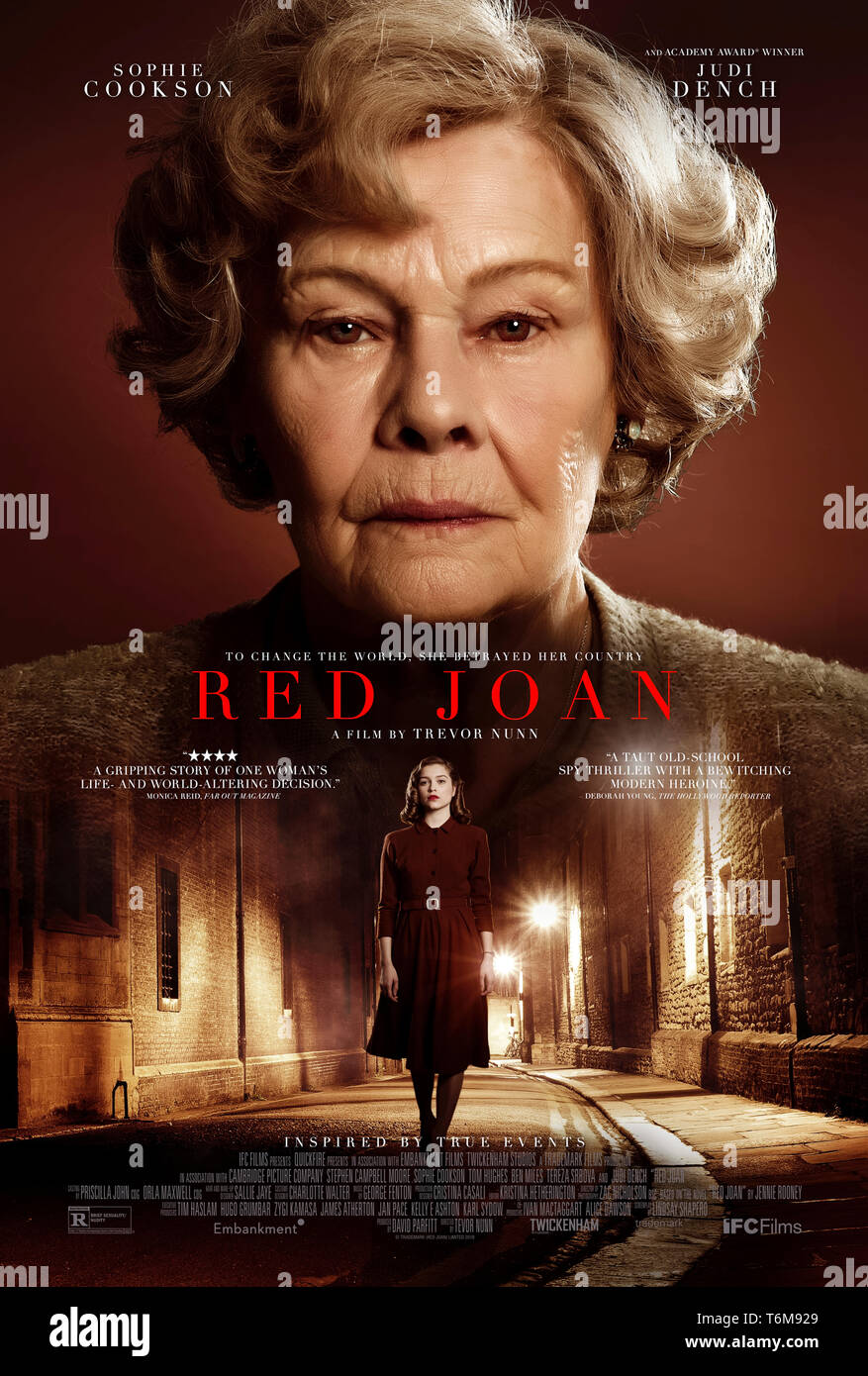 Red Joan (2018) directed by Trevor Nunn and starring Judi Dench, Sophie Cookson, Stephen Campbell Moore and Tom Hughes. British spy drama about the exposure of a female spy who betrayed her country for decades. - Stock Image