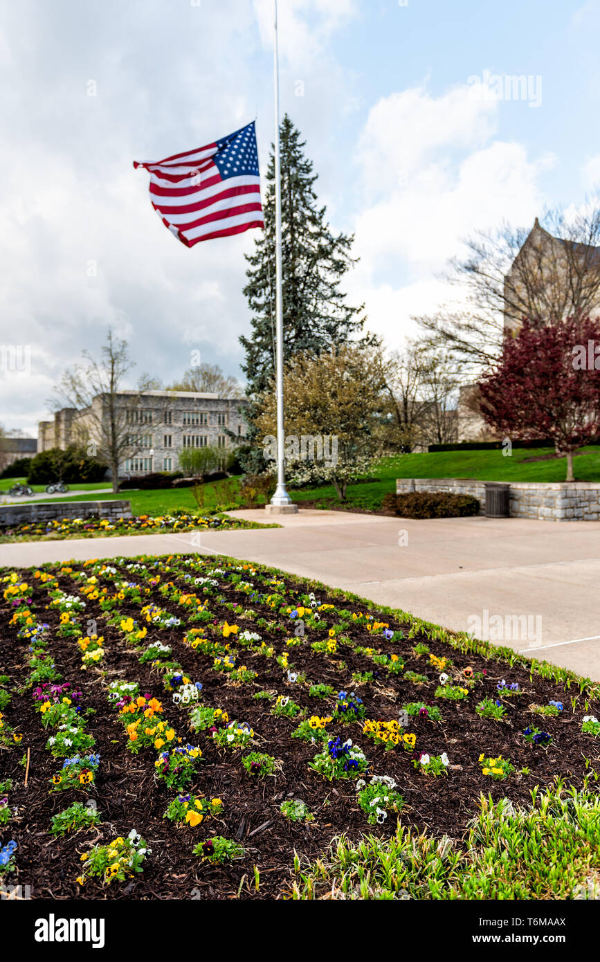 Blacksburg, USA - April 18, 2018: Virginia Polytechnic Tech Institute and State University with American Flag on campus and flower garden - Stock Image