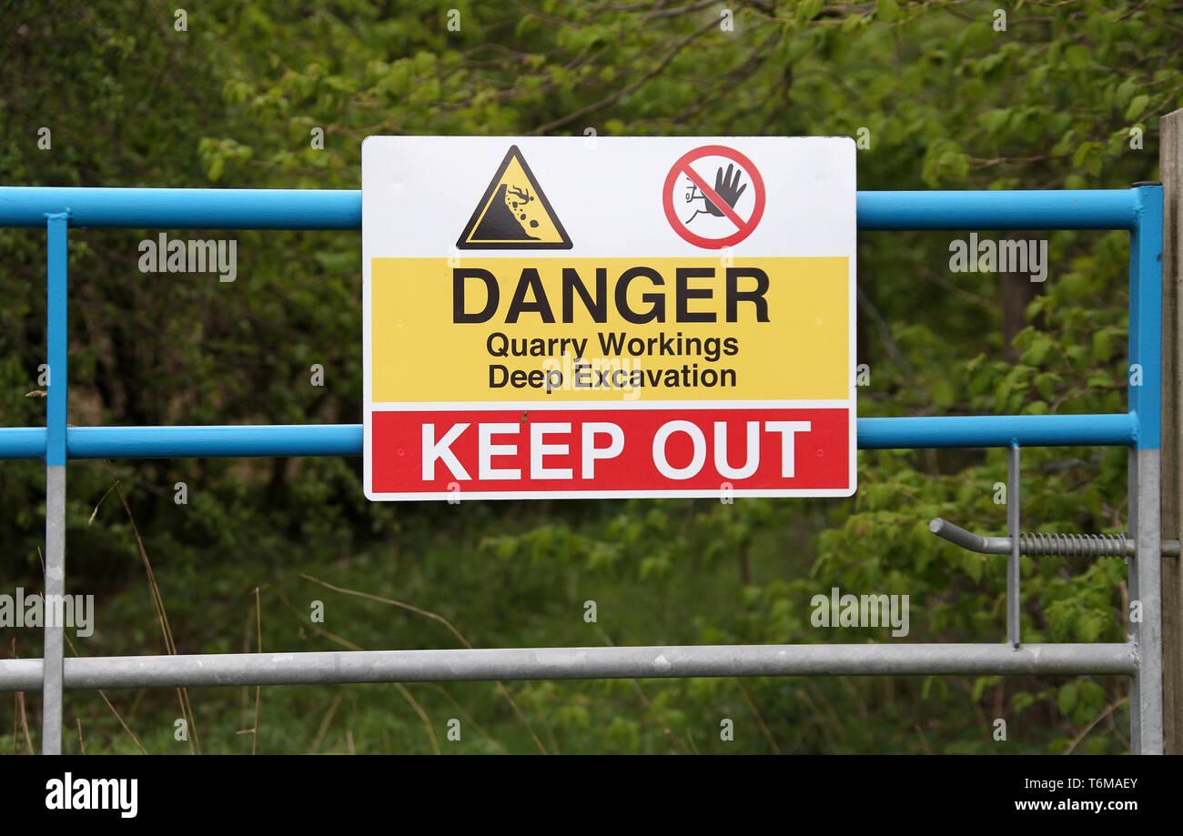 Danger sign at a quarry in the Derbyshire Peak District - Stock Image