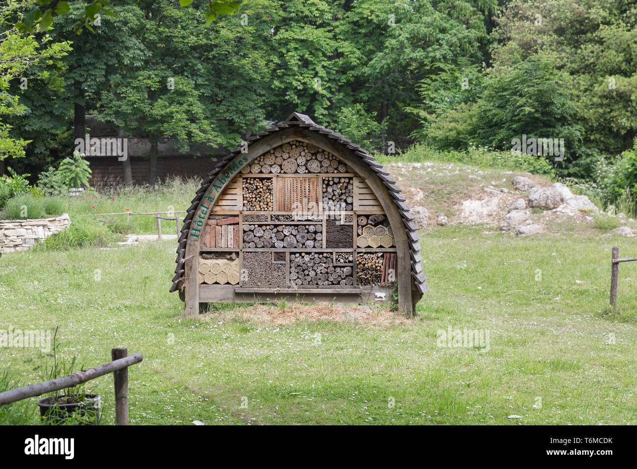 Insects hotel in city park Paris - Stock Image