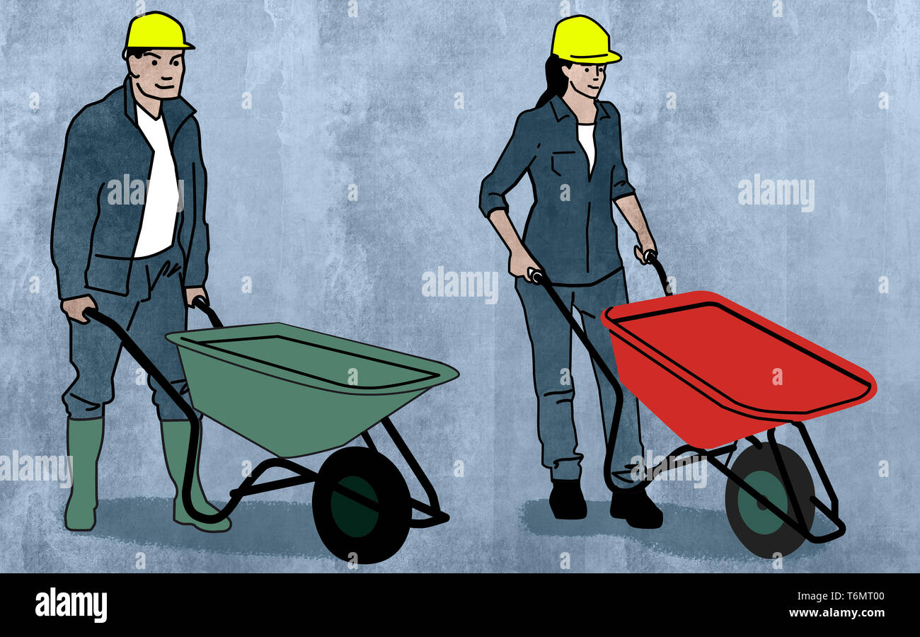 pushing the wheelbarrow - Stock Image