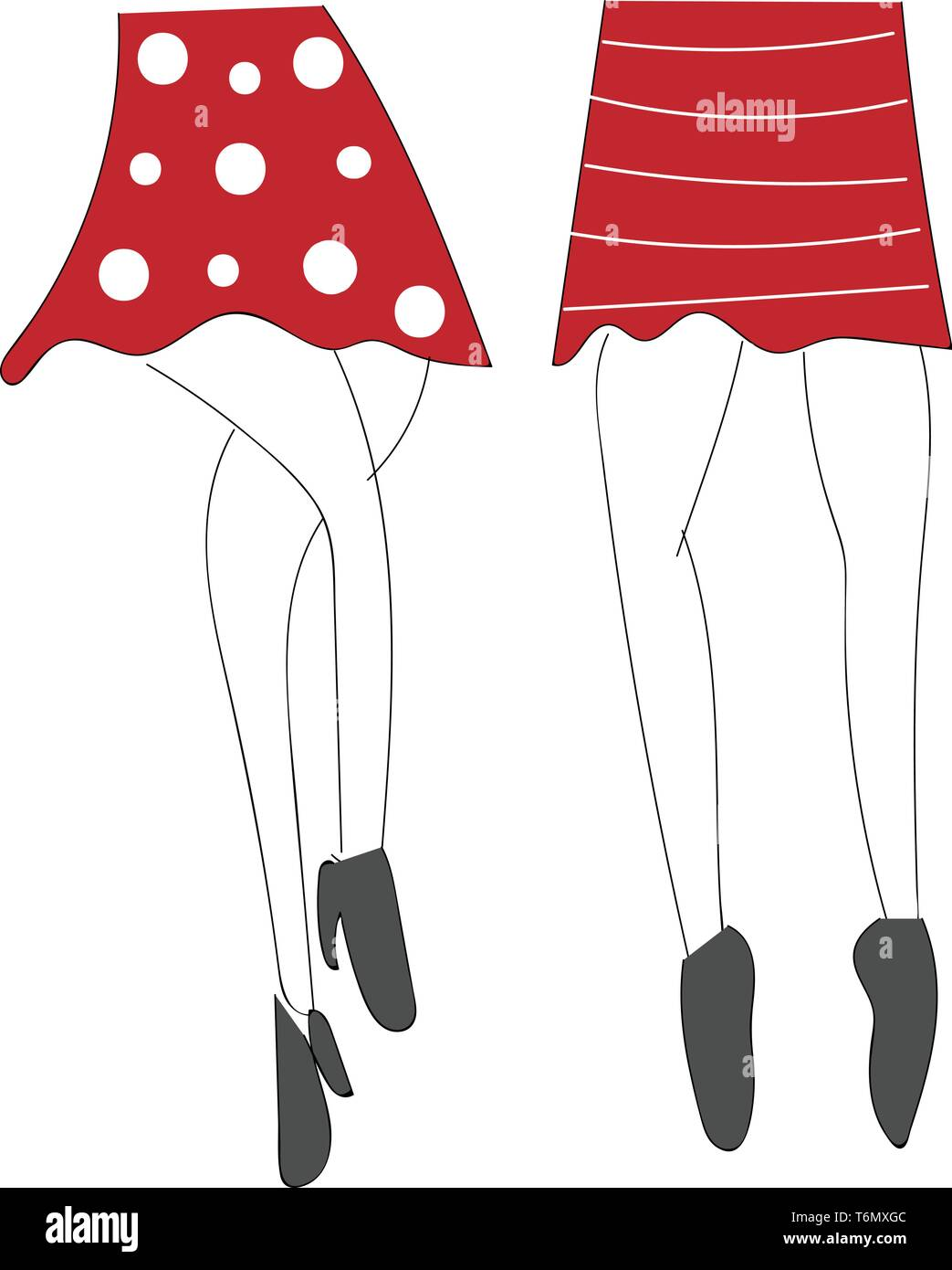 Sketch of mini skirts vector illustration - Stock Vector