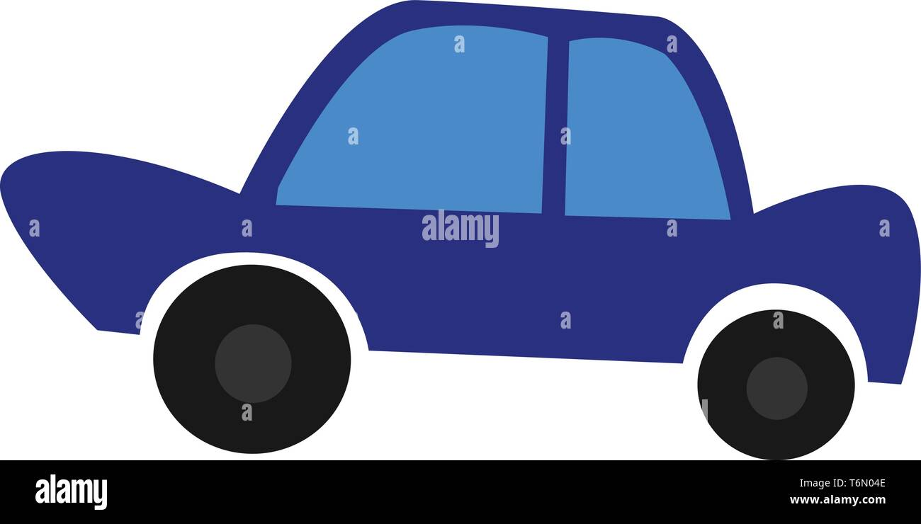 A Sedan Type Blue Color Car With Blue Glasses And Black Tires Vector