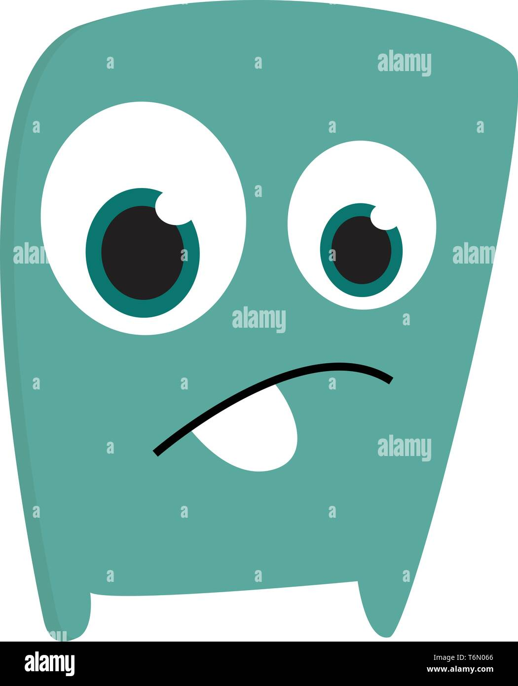 A blue sad monster looking sad with its large eyes vector color drawing or illustration Stock Vector