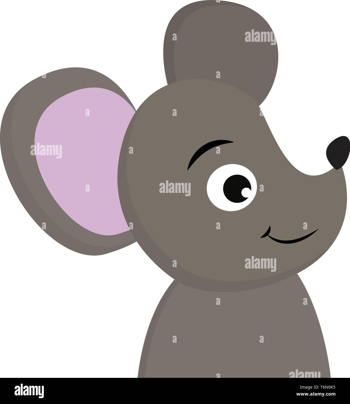 A cute black mouse with violet ears looking sidewise vector color drawing or illustration - Stock Image