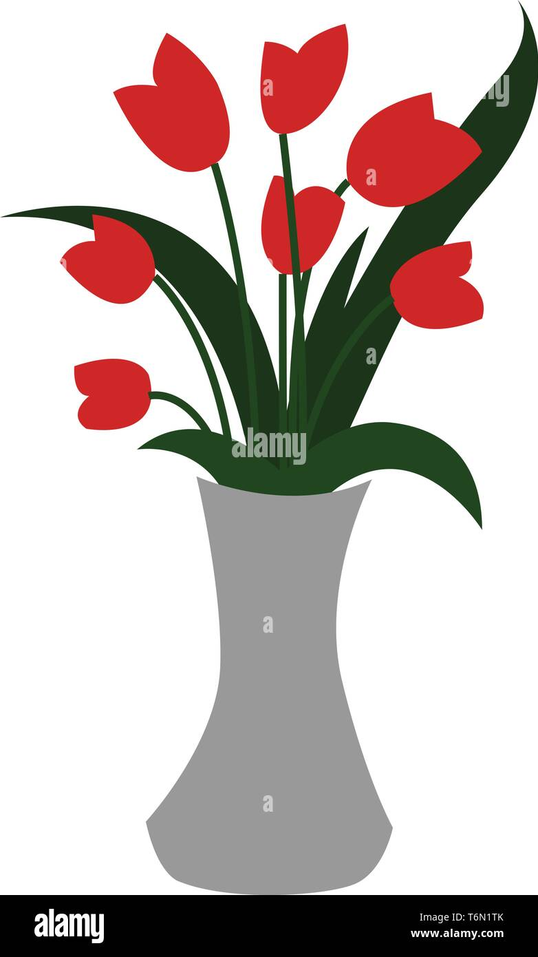 299 & Clipart of a white-colored flower vase displaying red ...