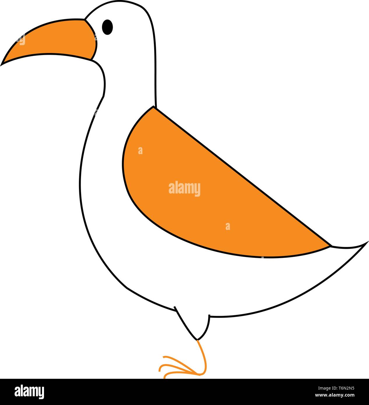 Clipart of a white-colored bird with orange  plumage  and beak  stands in its one slender orange foot  vector  color drawing or illustration - Stock Image