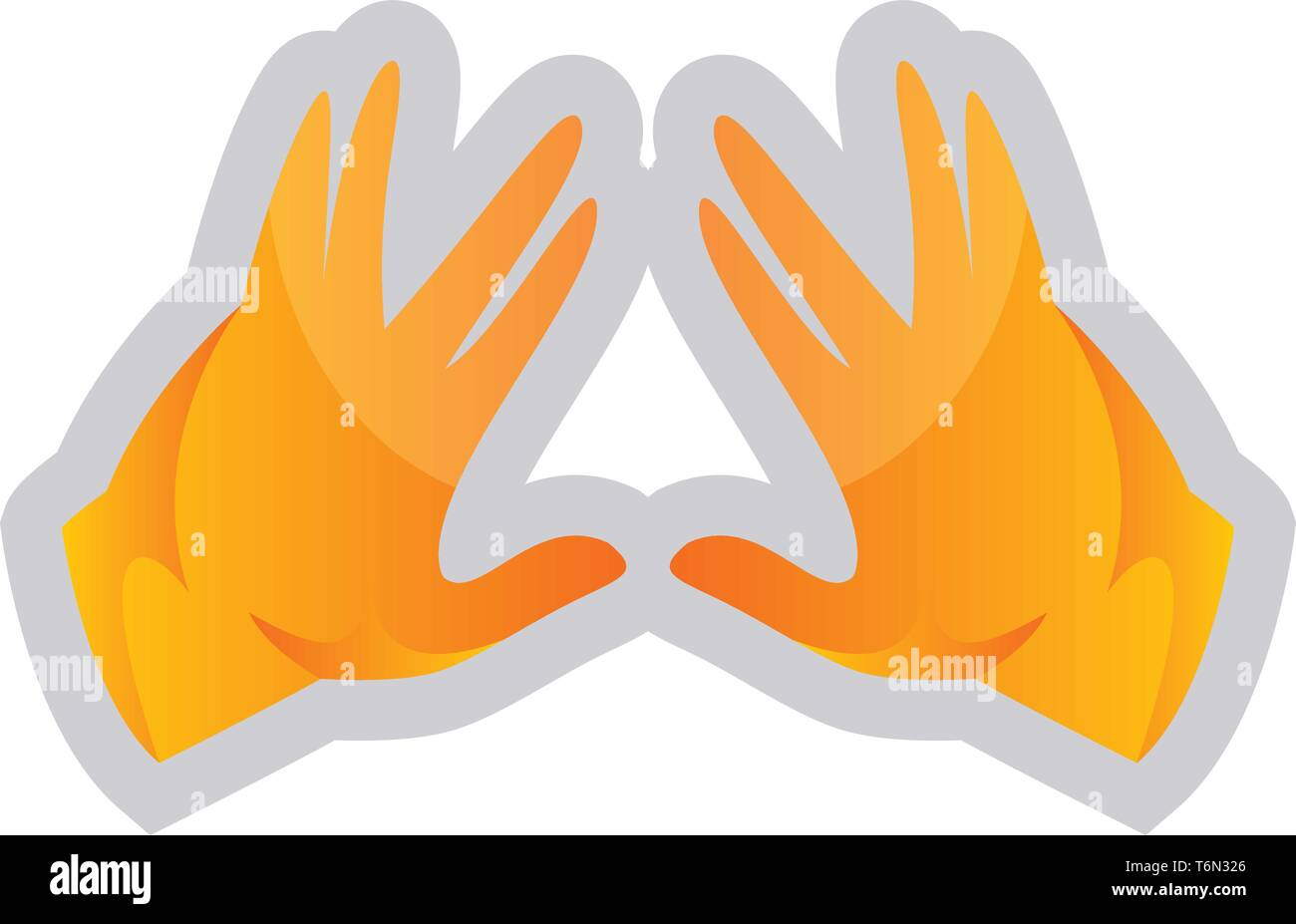 Simple vector illustration on a white background of a yellow Kohen Hands - Stock Vector