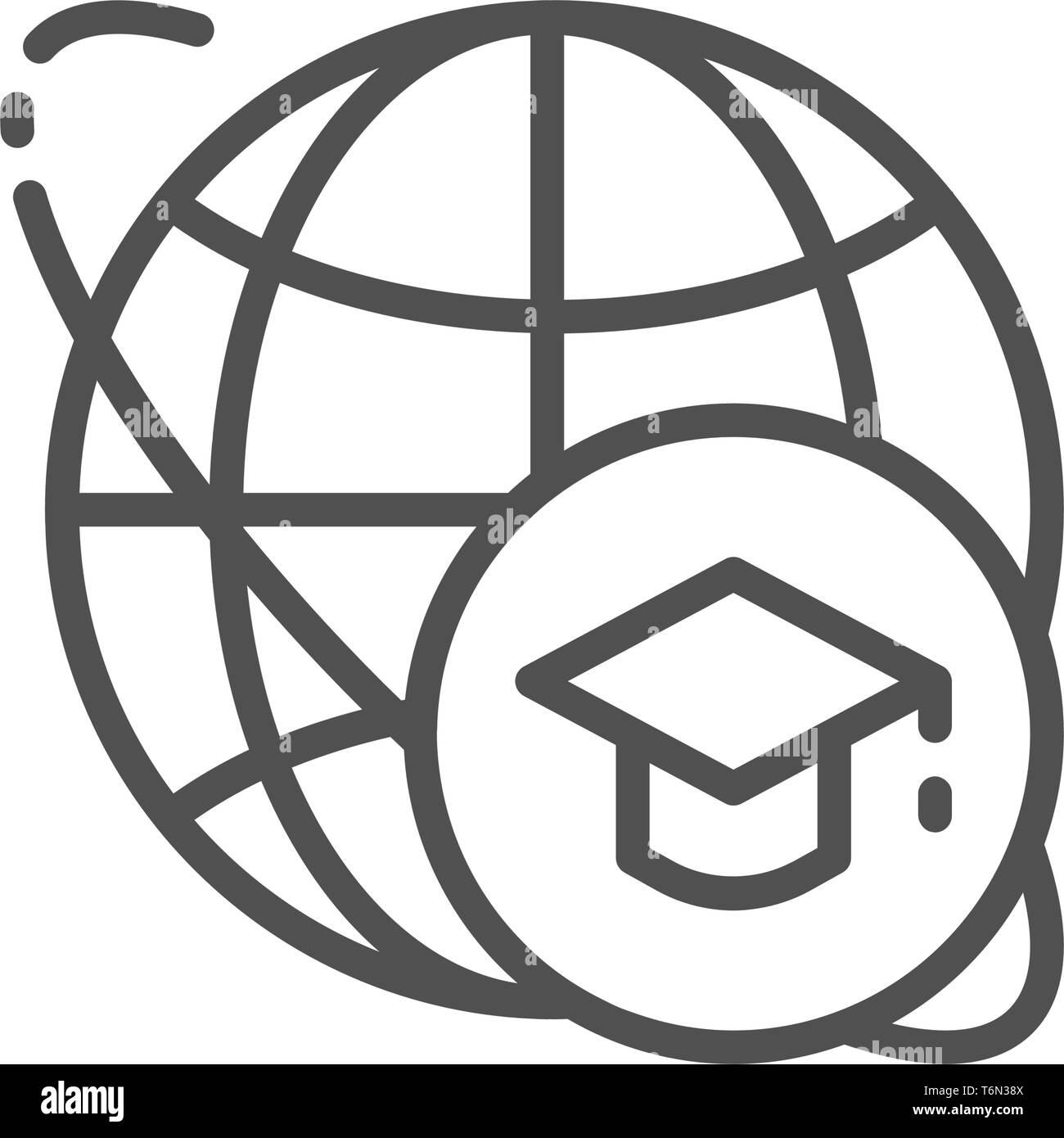 Graduation cap and world, global education line icon. - Stock Vector