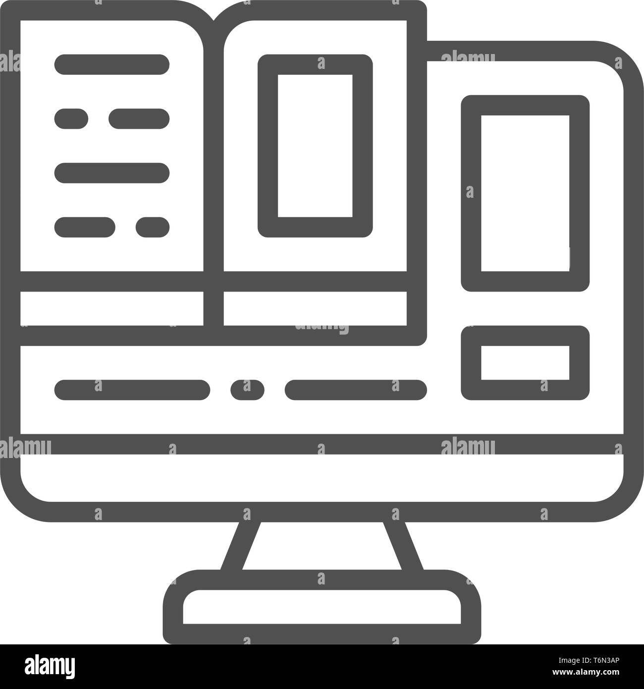 Computer monitor with a book, online education line icon. - Stock Image