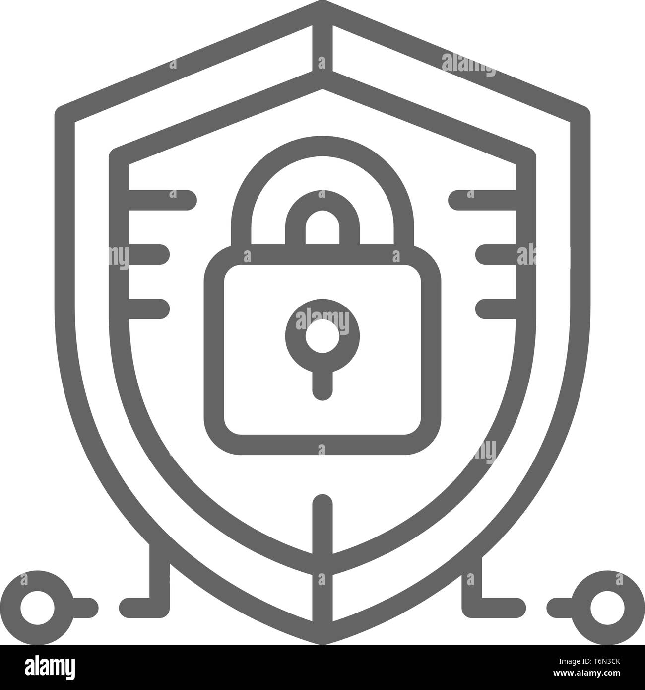 Antivirus, data protection, cyber security line icon. - Stock Image