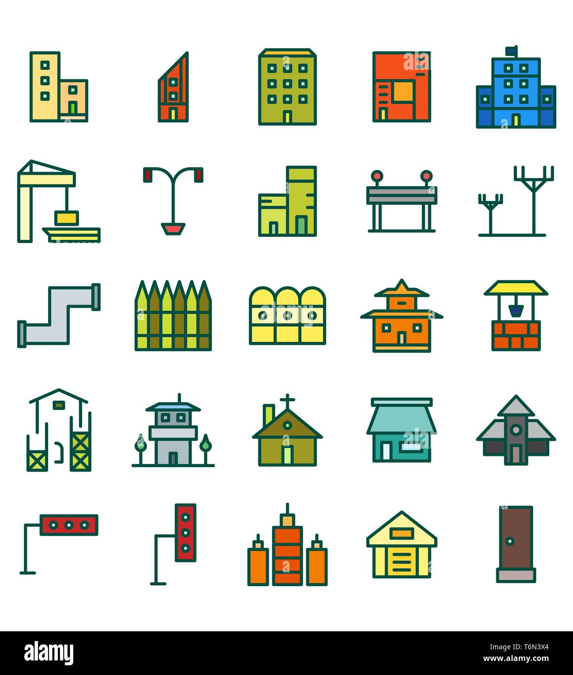 Set of Building and real estate city Flat Color vector illustration icon or symbol. Editable stroke and color - Stock Image