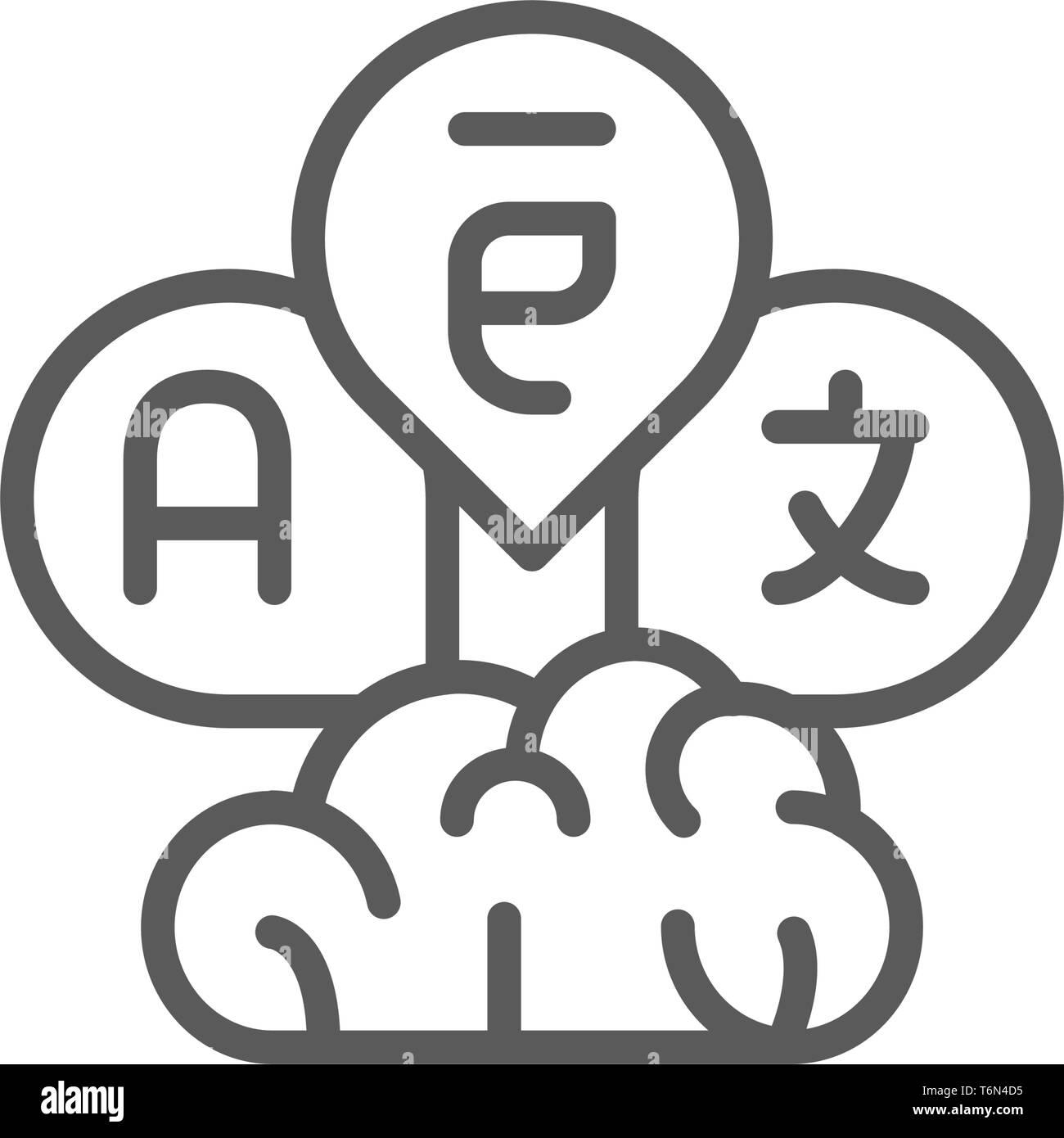 Brain with language bubbles, translation line icon. - Stock Image