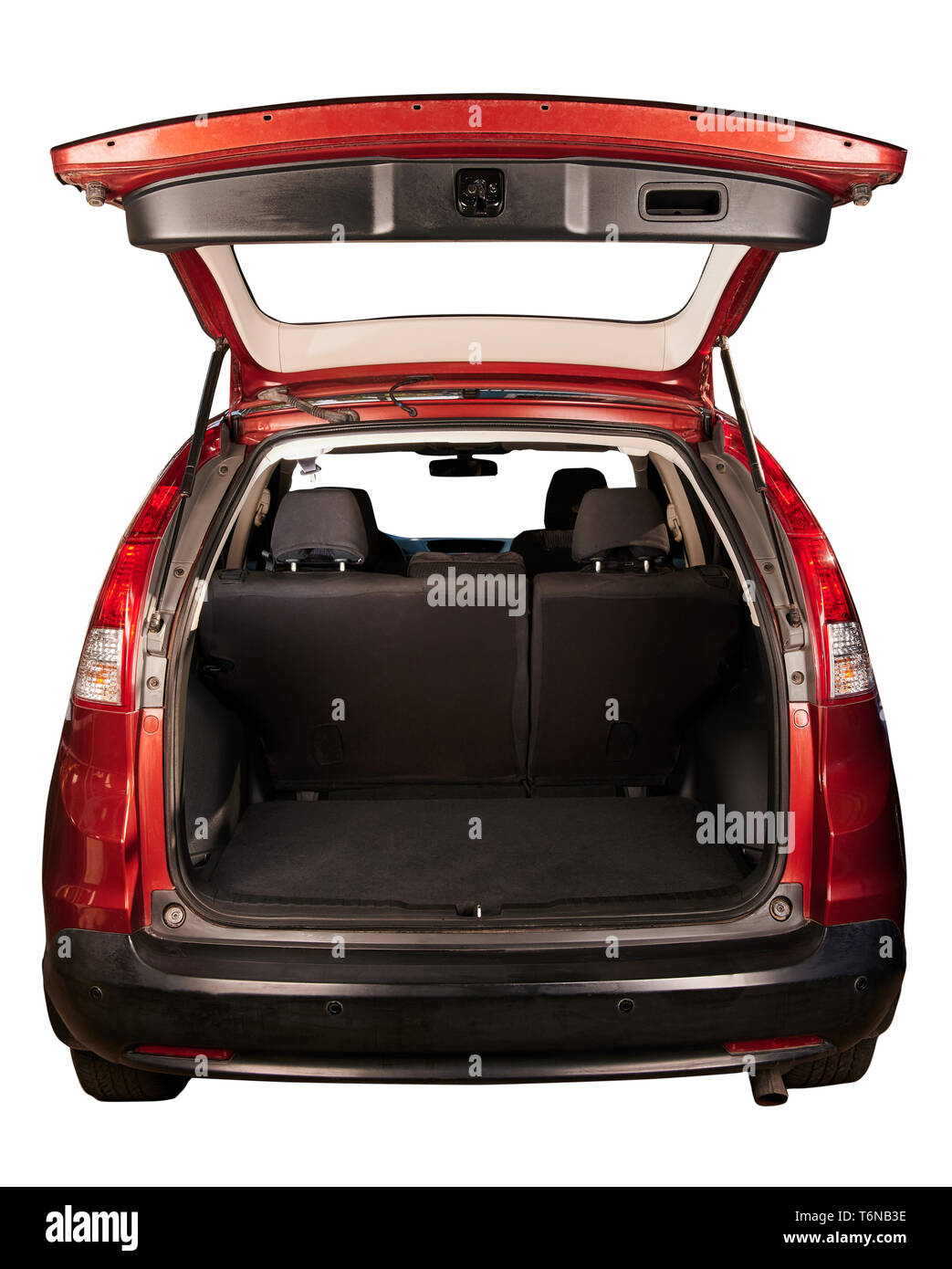 Rear view of SUV red car with open trunk isolated - Stock Image