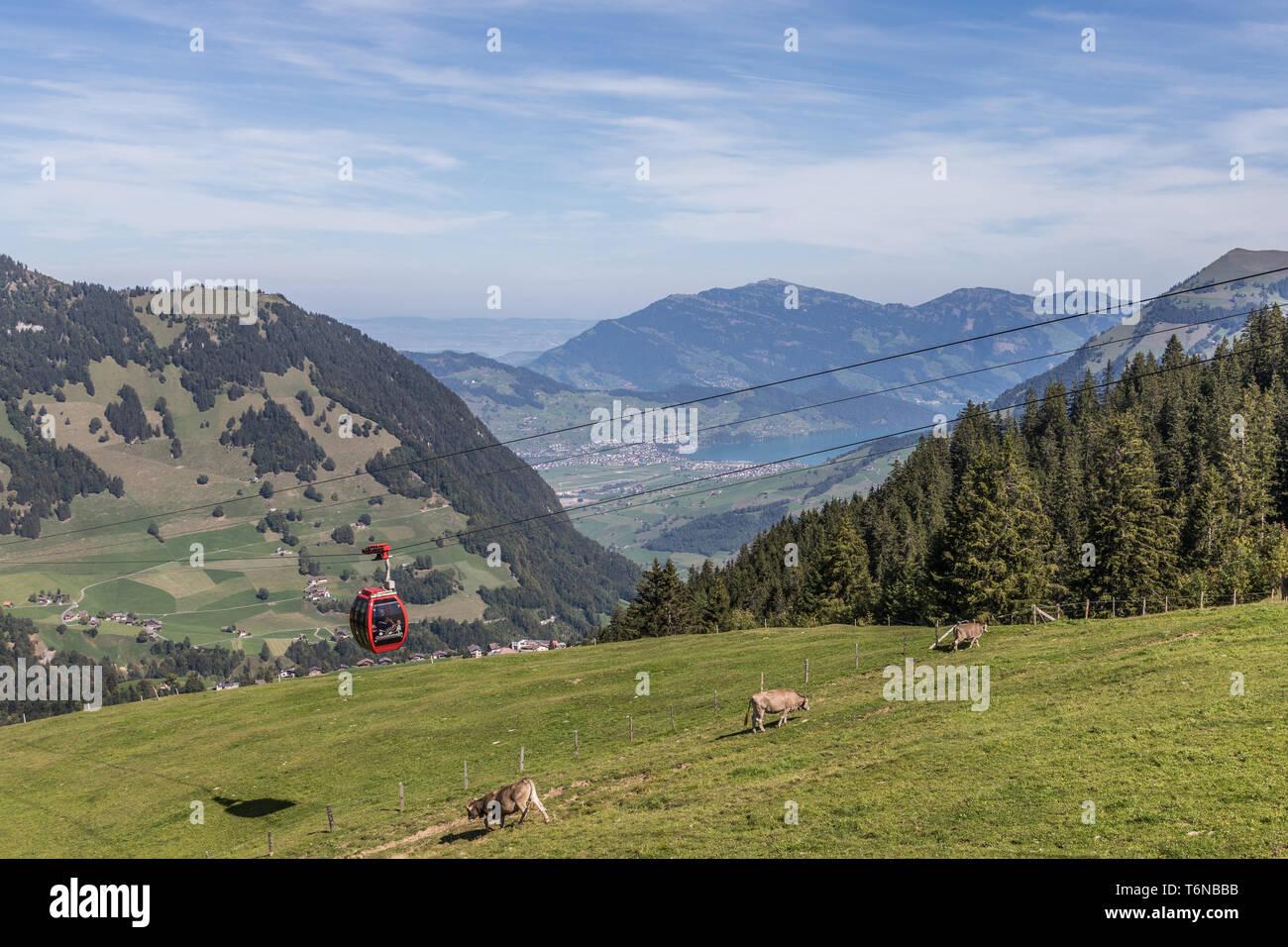 The aerial cableway Gummenalp, Nidwalden, Switzerland, Europe - Stock Image
