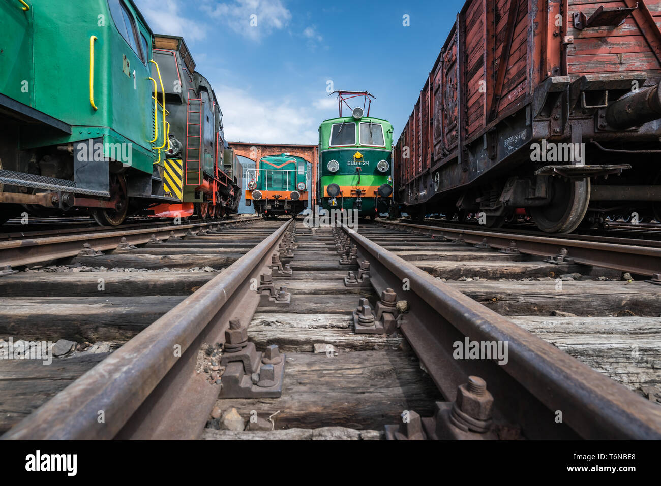 Old locomotives in the transport museum Stock Photo