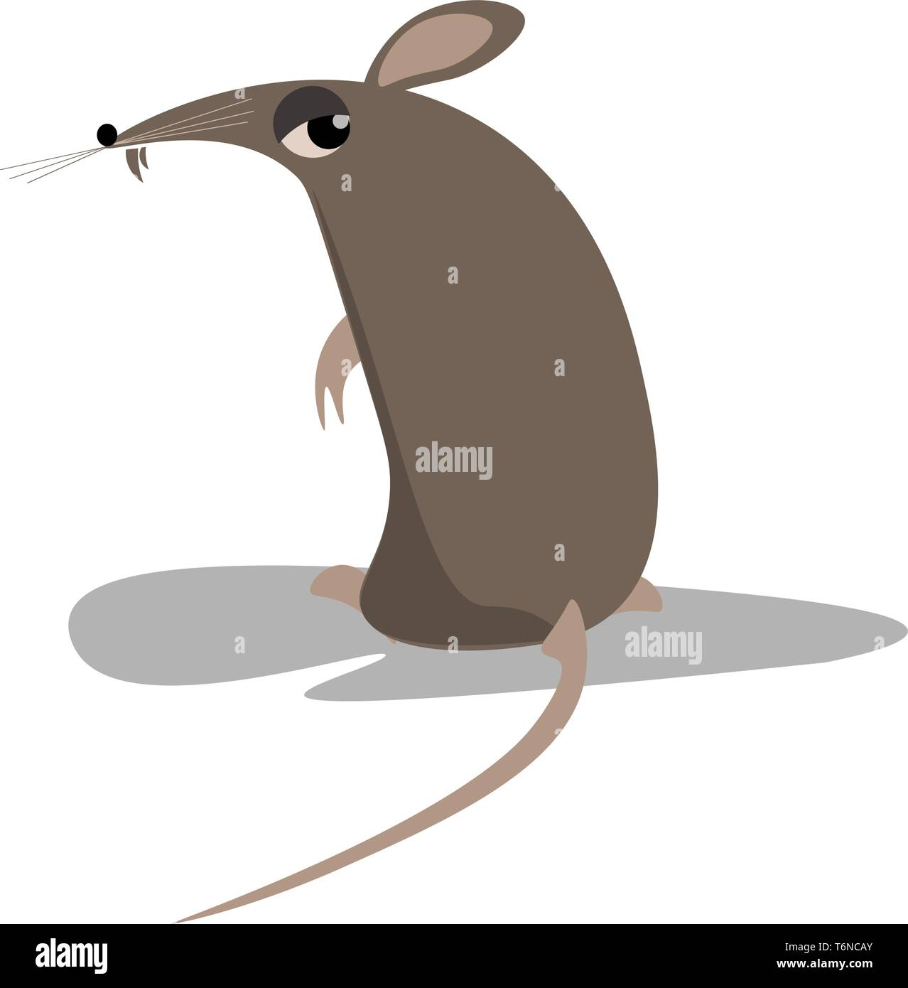 A little naughty black rat vector color drawing or illustration - Stock Image