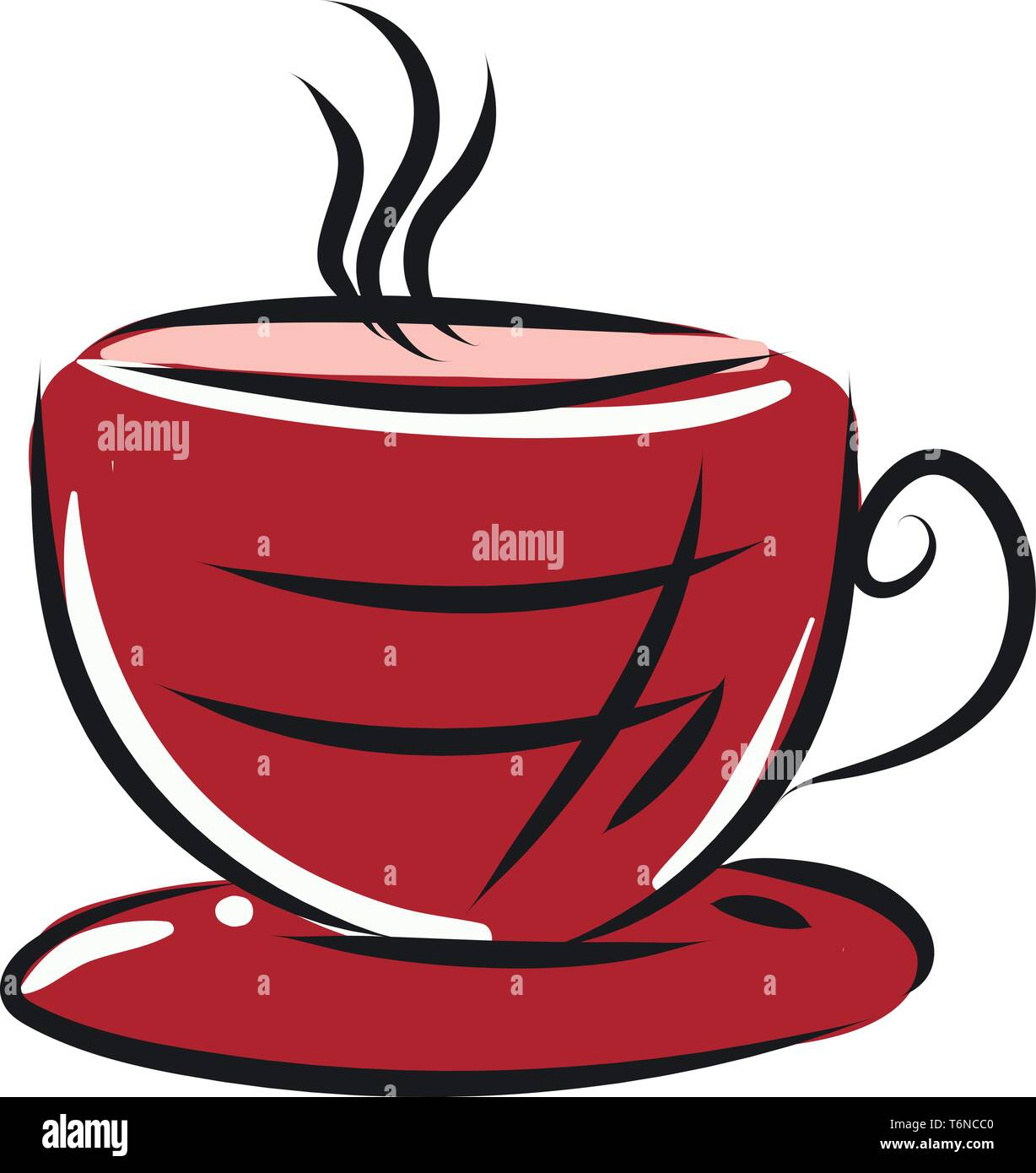 A Modern Red Coffee Cup With Saucer Vector Color Drawing Or Illustration Stock Vector Image Art Alamy