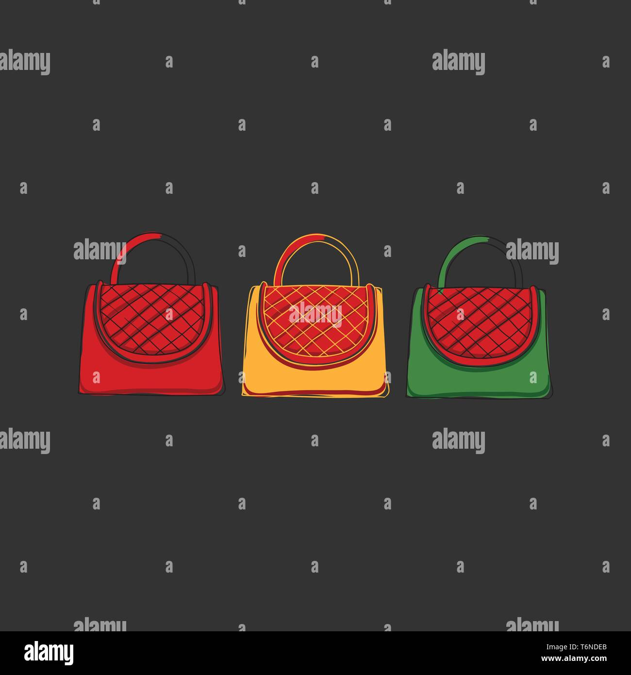 Clipart of three women's handbags in red  yellow and green colors knitted with checkered patterns on the front portion appears over a black background - Stock Vector