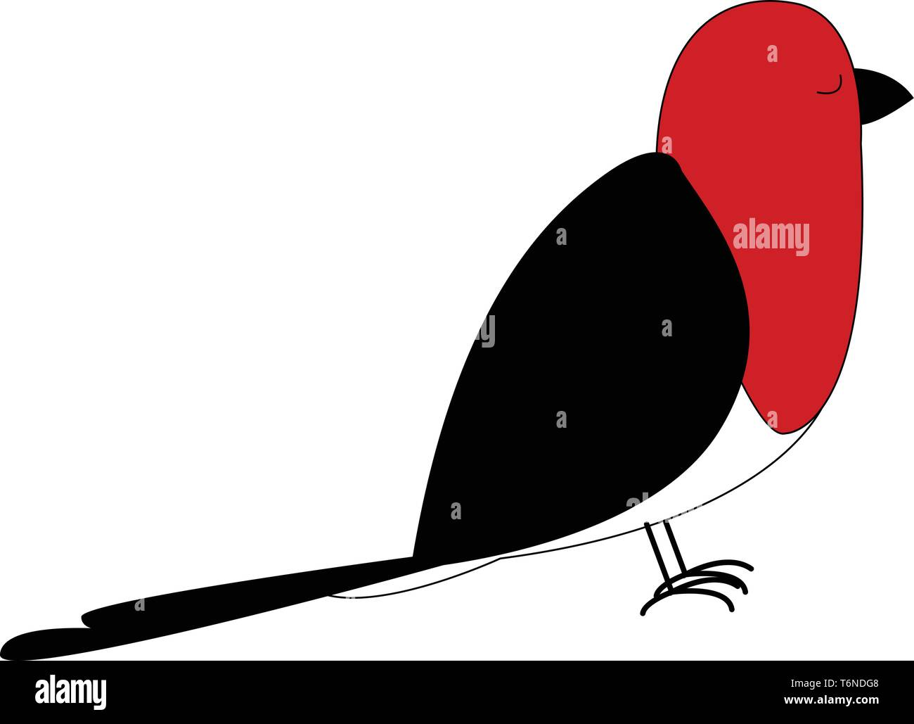 Cartoon red bird with black plumage  feet  and beak  is standing with its eyes closed  vector  color drawing or illustration - Stock Image
