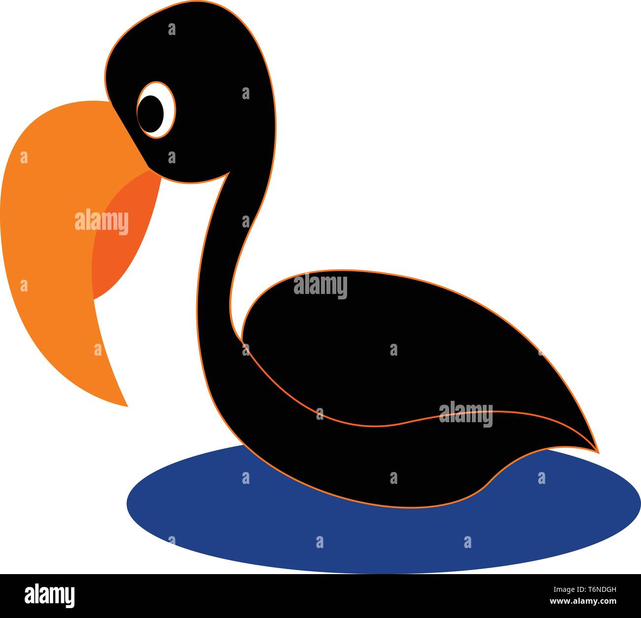 Cartoon black bird with long and curved orange bill swimming across the sea  vector  color drawing or illustration - Stock Image