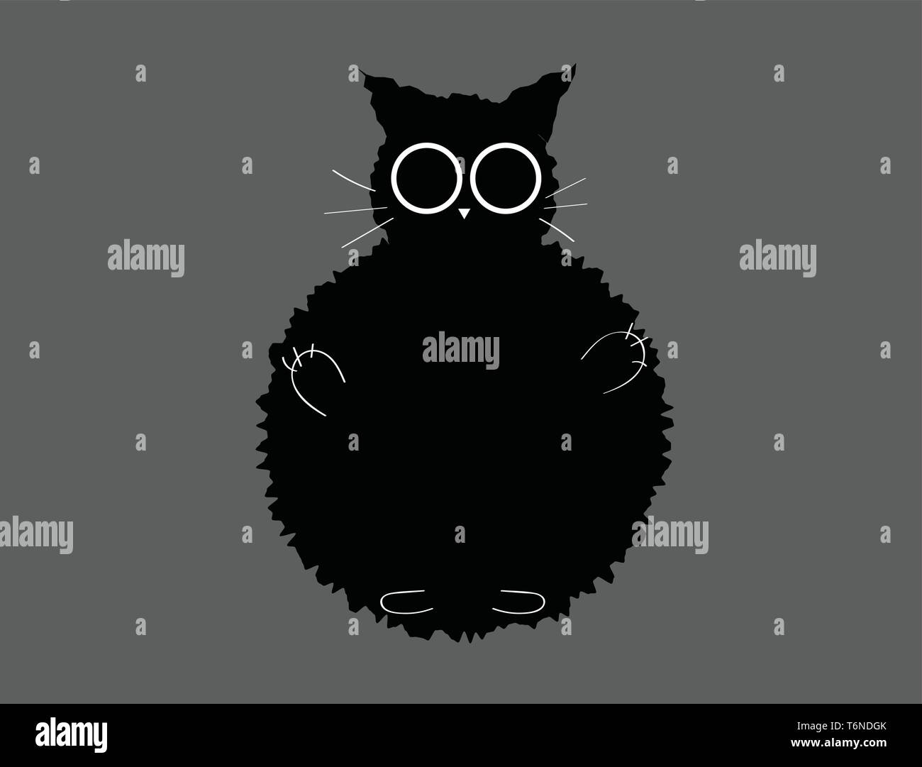 Portrait of a black furry cat with short ears  white whiskers  inverted triangle-like nose  white hands  and legs  over a grey background  vector  col Stock Vector