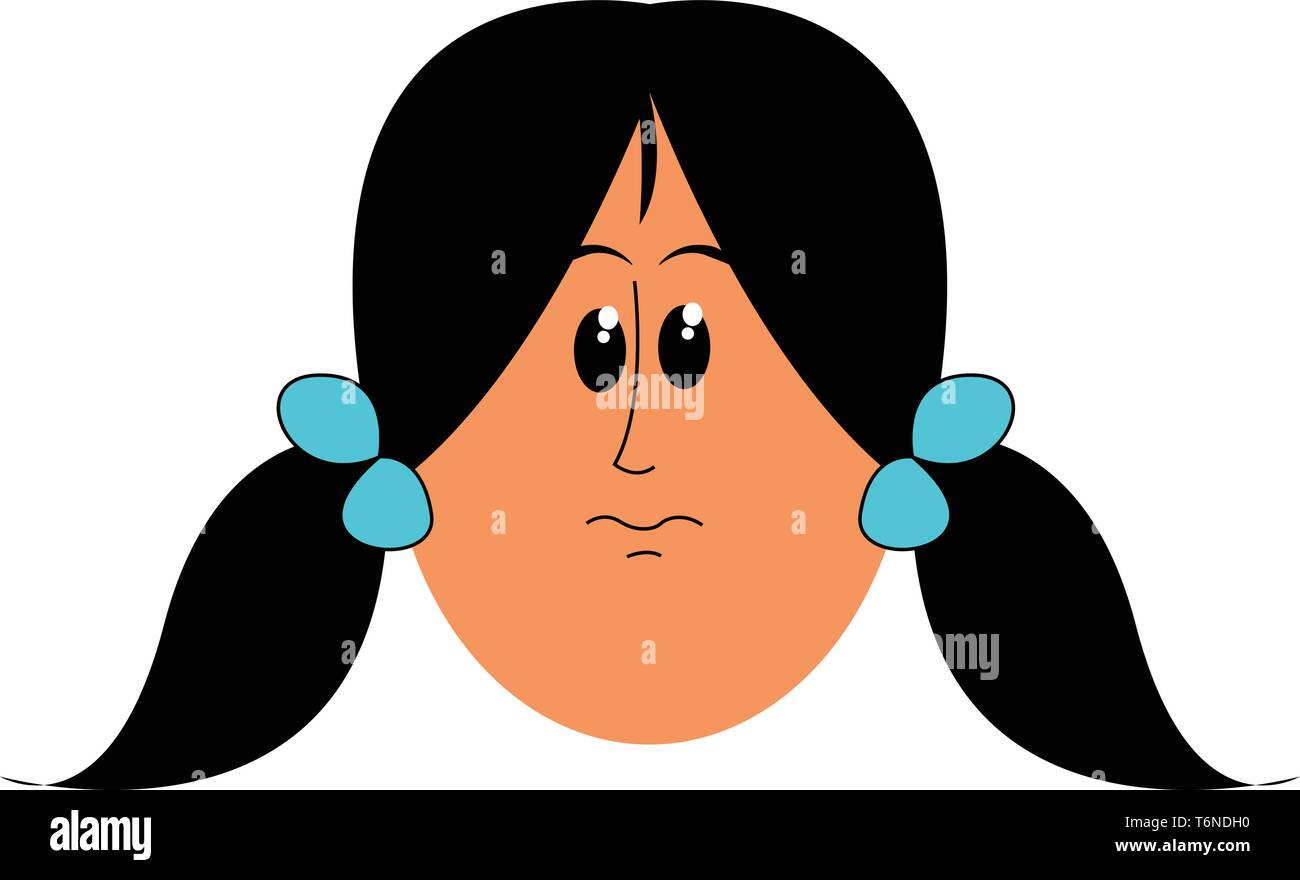Cartoon Face Of A Girl In Two Side Ponytails Hairstyle And Tied