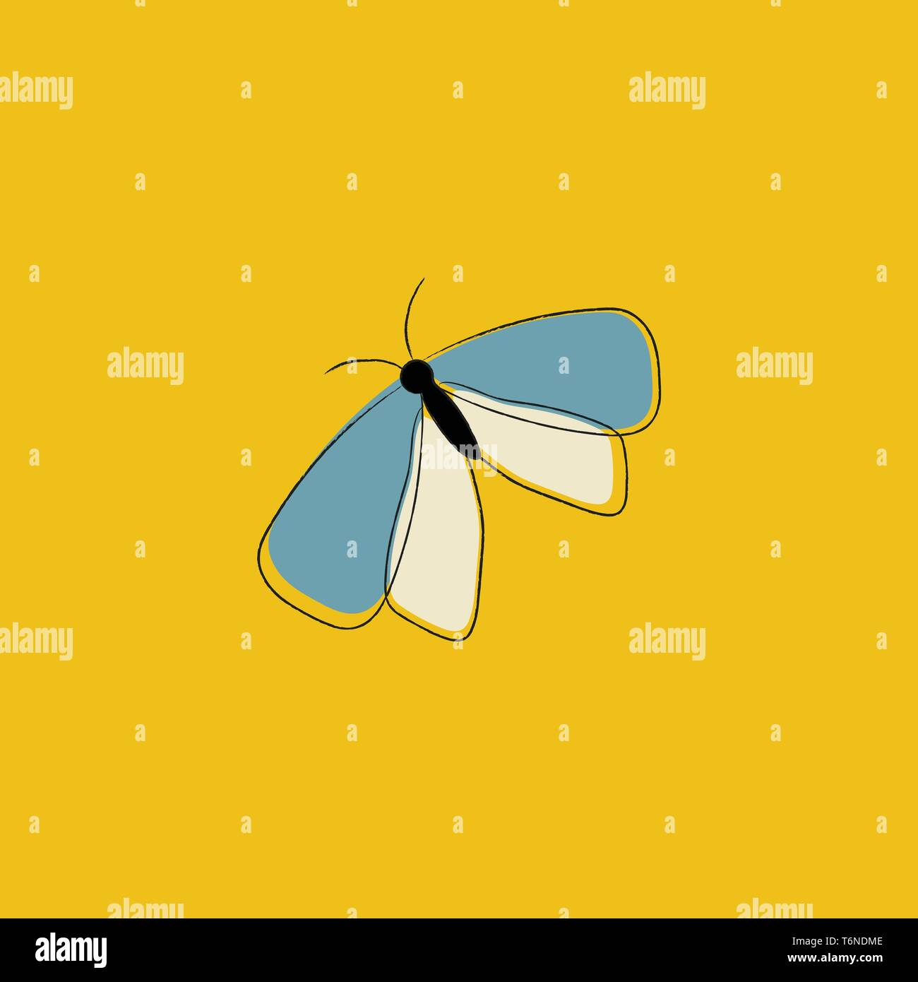 Portrait of a butterfly with a slender black body  blue and white  forewings and hindwings  two antennae is crawling over yellow background  vector  c - Stock Image