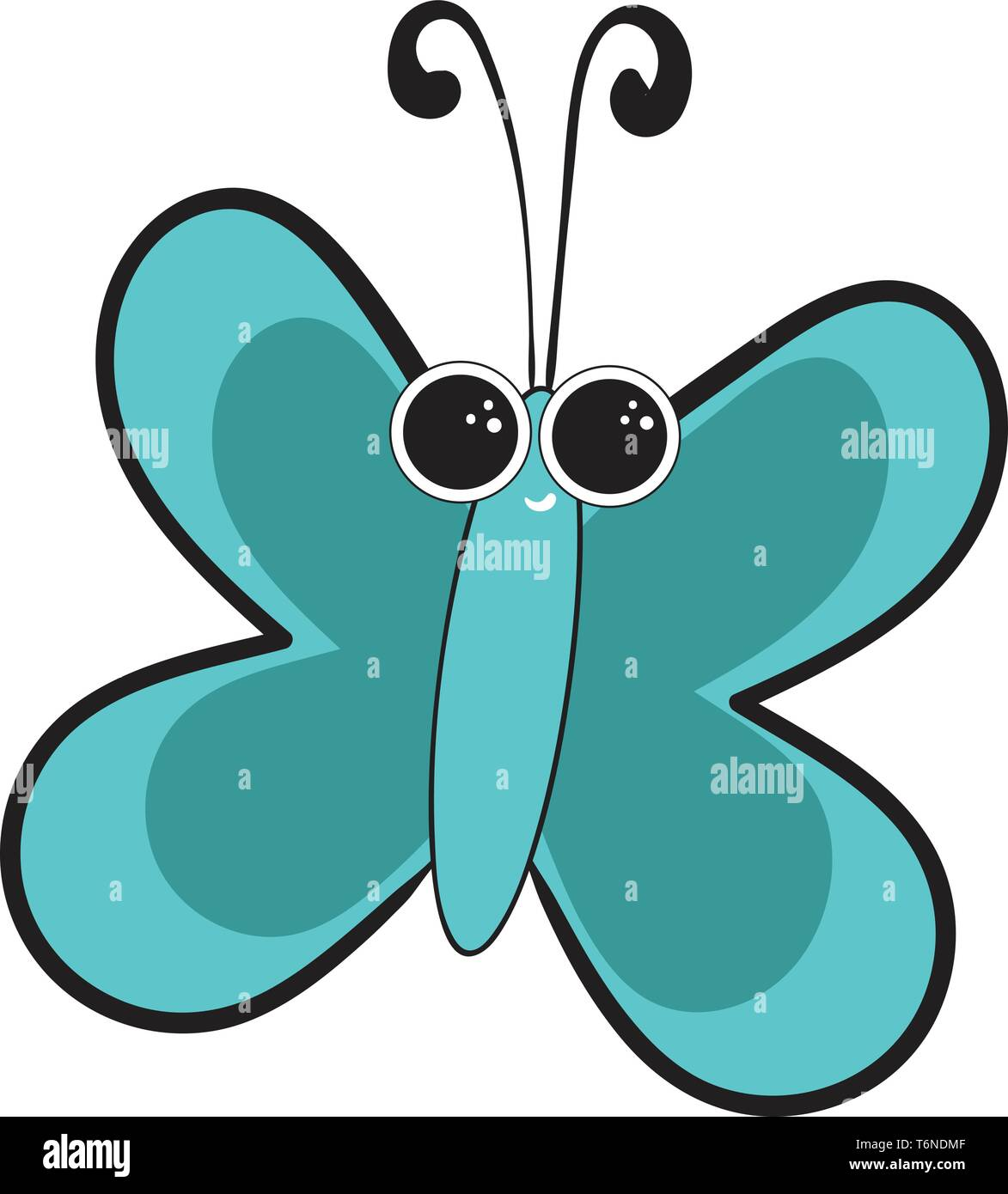 Portrait of a blue butterfly with two eyes and black horns is smiling  vector  color drawing or illustration - Stock Image