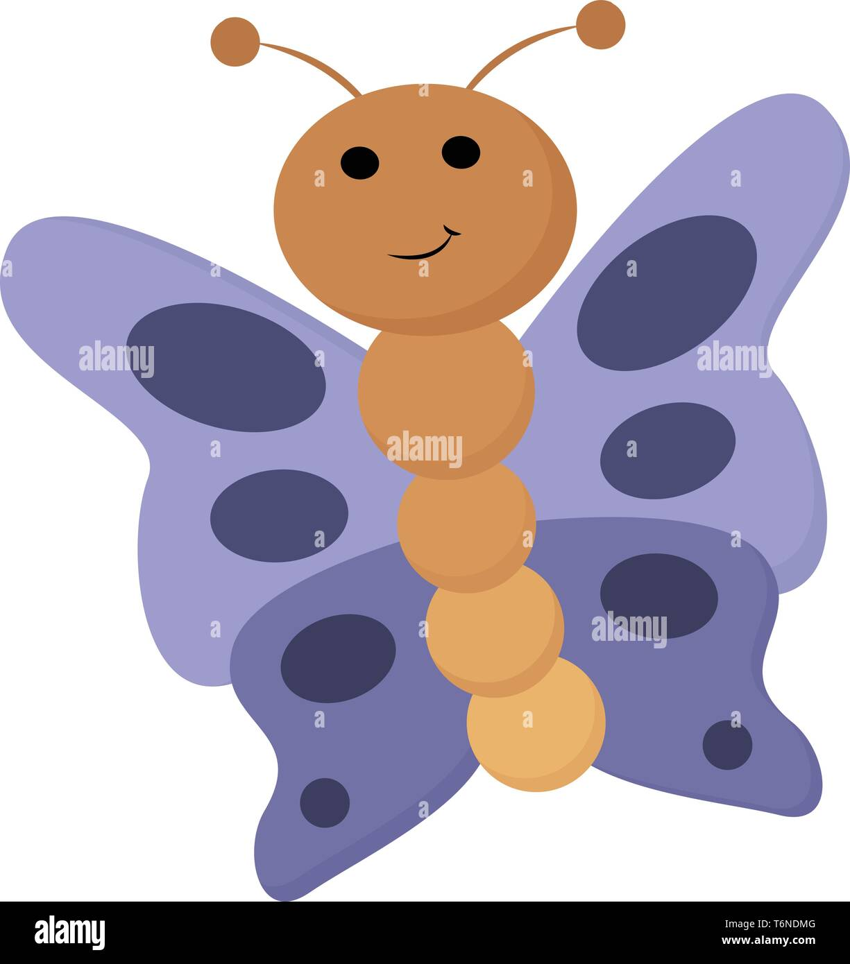Portrait of a brown butterfly with microscopic scales of oval-shaped patterns on its blue wings is smiling  vector  color drawing or illustration - Stock Image