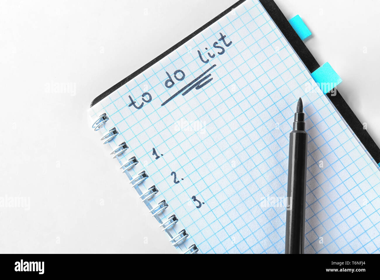 Empty TO DO LIST with marker on white background Stock Photo