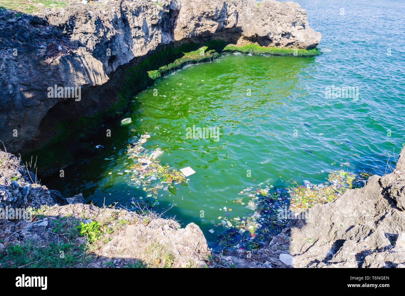 sea polluted by garbage, plastics and wastewater in the city of Santo Domingo, Dominican Republic, where the color and smell is fetid due to polluti - Stock Image