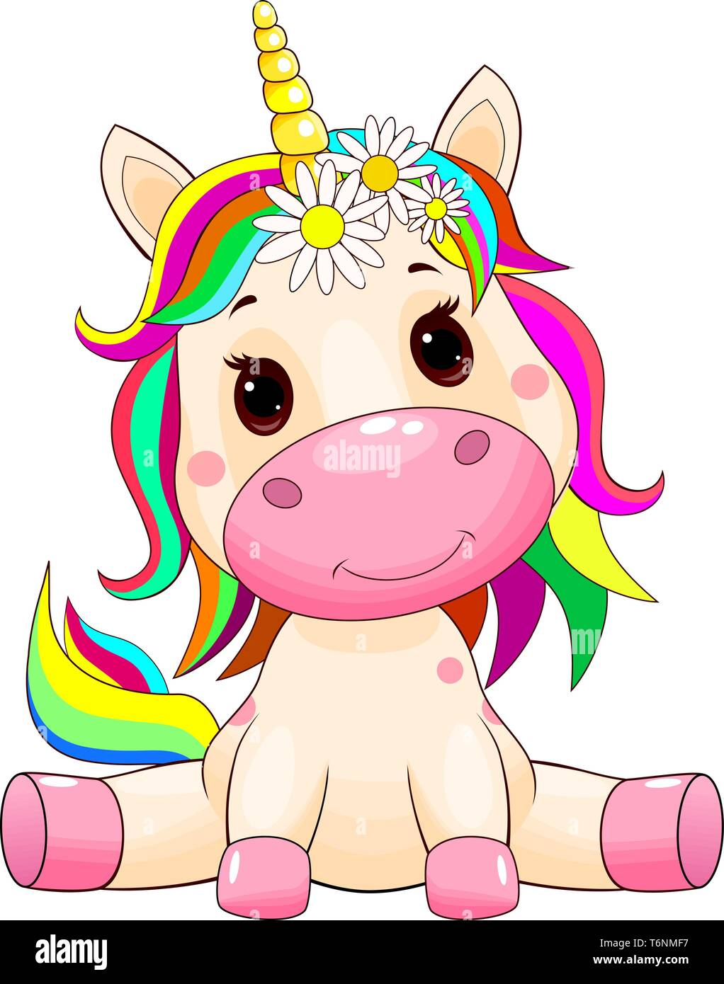 Little unicorn with a multi-colored mane and tail on white. - Stock Vector