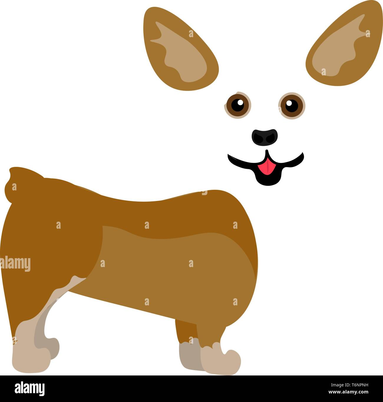 Painting Of A Cute Little Corgi Puppy Brown In Color Looks Happy Is Set On Isolated White Background Viewed From The Side Vector Color Drawing Or Il Stock Vector Image Art