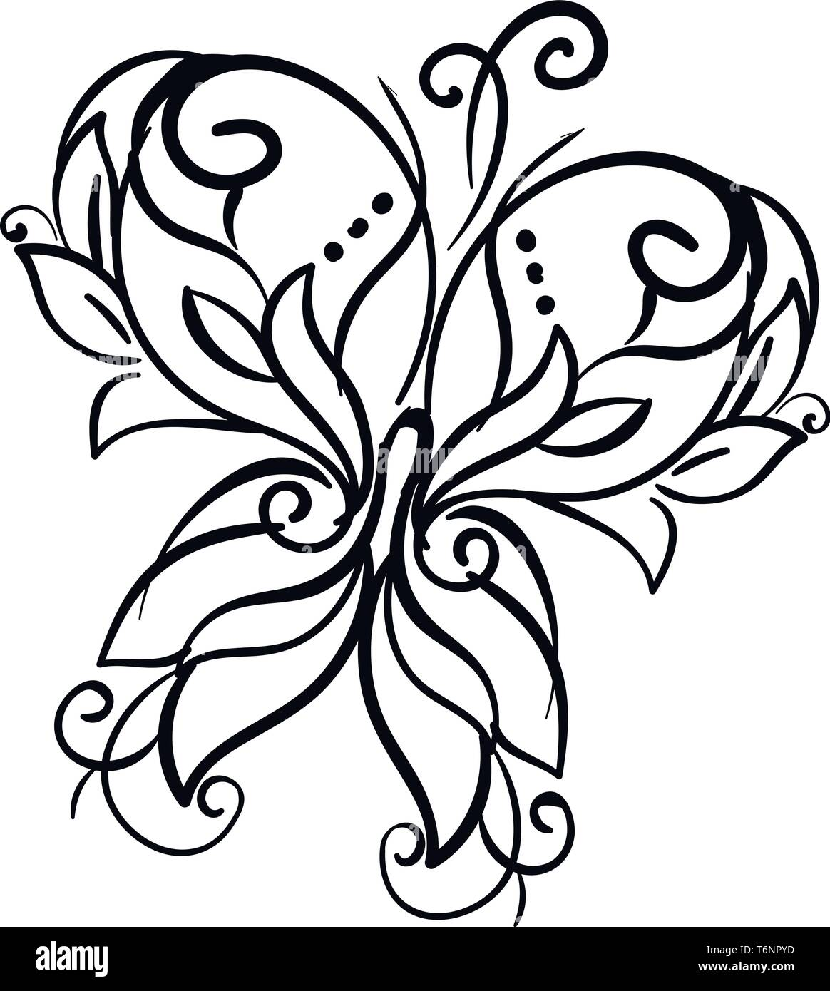 Line art of a décor butterfly with microscopic scales of various patterns covering its wings  vector  color drawing or illustration - Stock Image