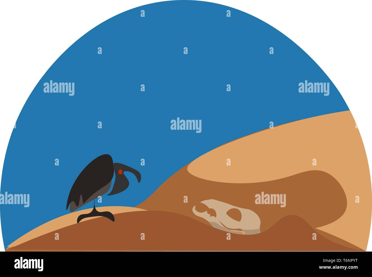Wild landscape with an eagle perched on the desert and a clear blue sky completes the background vector color drawing or illustration