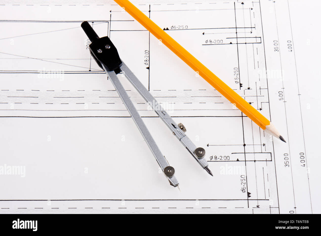 Building plan of reinforced concrete construction with compasses Stock Photo