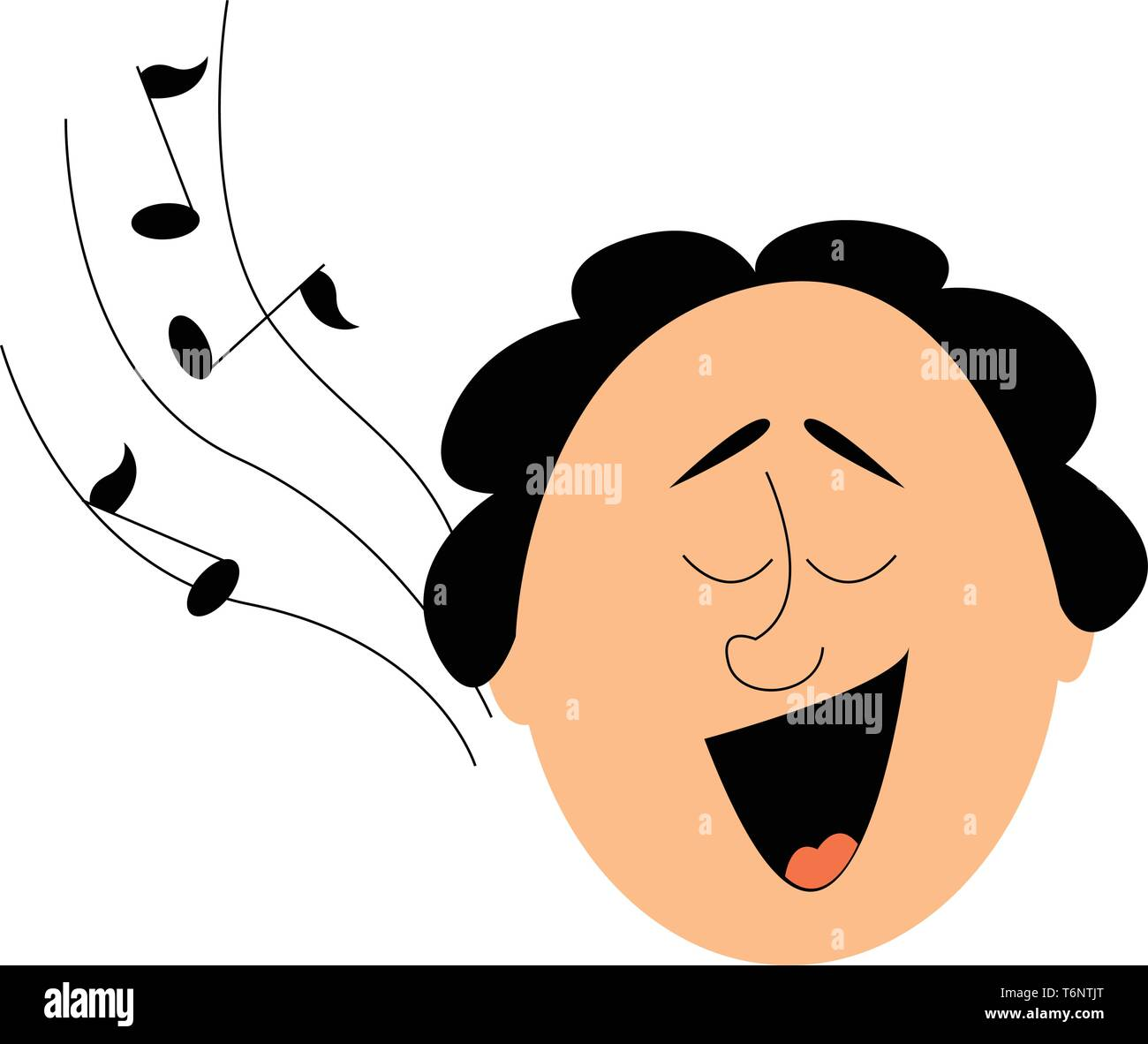 Portrait of the face a funny-looking man with his mouth wide opened and musical notes drifting through the air as he sings  vector  color drawing or i - Stock Vector