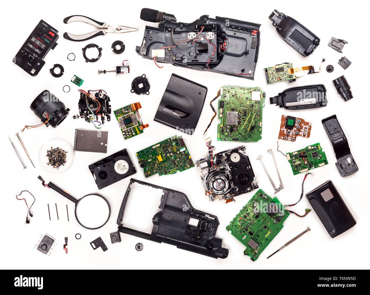 disassembled VHS video camera. - Stock Image