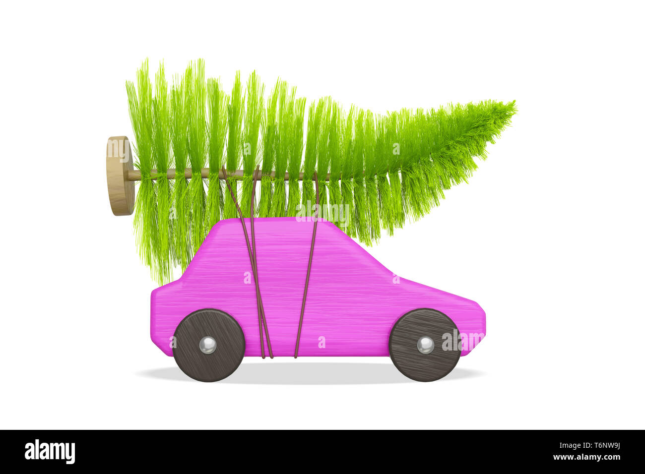 pink toy car with green christmas tree Stock Photo