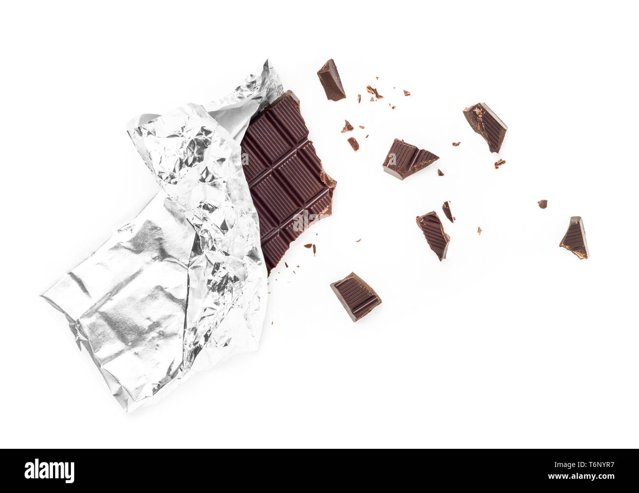 Chocolate Bar Tablet Wrapped in Aluminum Foil Stock Photo