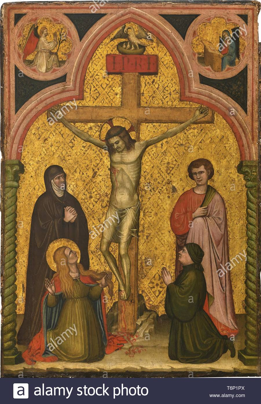 Antonio Di Pietro-The Crucifixion With The Madonna, Saint John, Mary Magdelene And A Donor; The Annunciation In The Spandrels Above - Stock Image