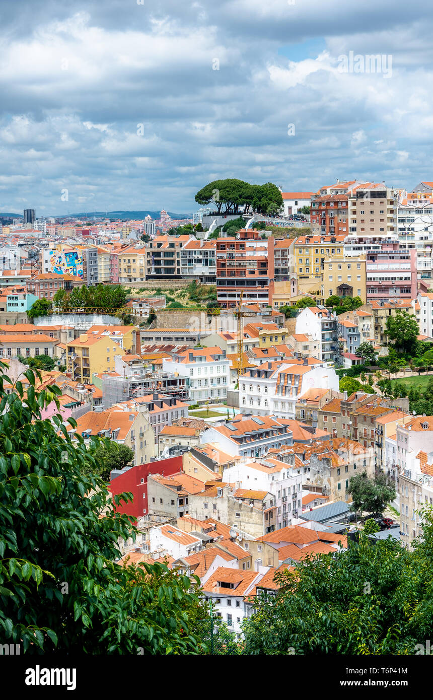 View from Saint George Castle, Lisbon cityscape, Portuguese architecture, trees - Stock Image