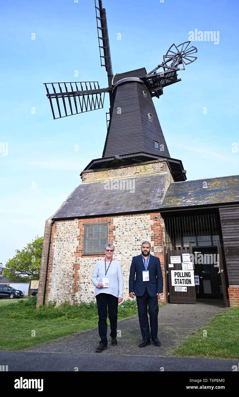 Brighton UK 2nd May 2019 - Presiding officers for the Hove Constituency of Hangleton & Knoll Ward for the local elections outside the Polling Station at West Blatchington Windmill in Brighton and Hove early this morning. Credit: Simon Dack / Alamy Live News Stock Photo