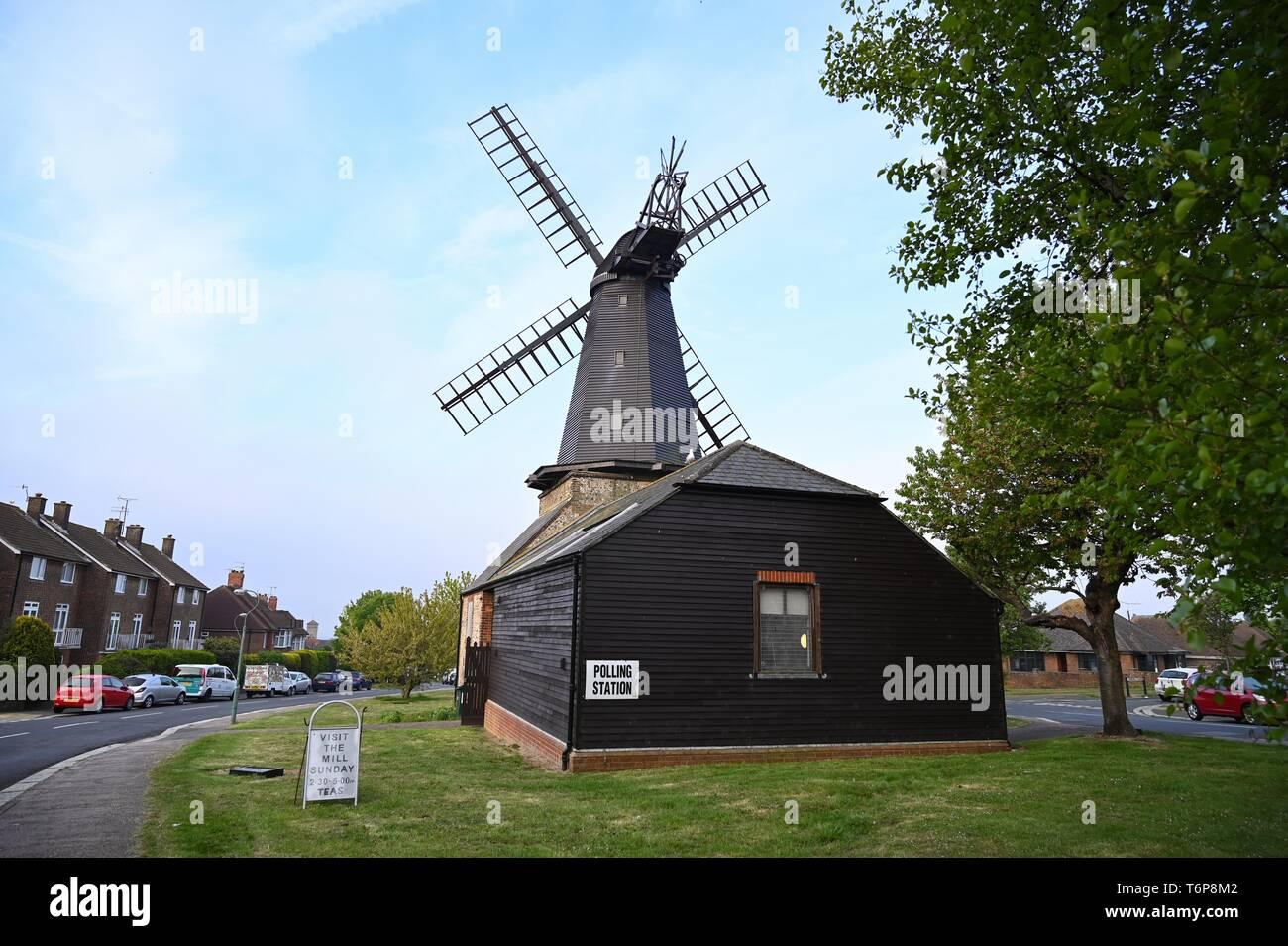 Brighton UK 2nd May 2019 - West Blatchington Windmill being used as the polling station for the Hove Constituency of Hangleton & Knoll Ward in Brighton and Hove today . Credit: Simon Dack / Alamy Live News Stock Photo