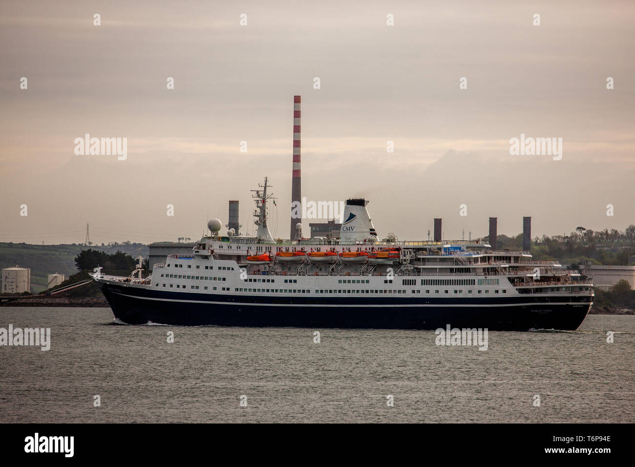 Crosshaven, Cork, Ireland. 02nd May, 2019. On her way to visit the historic town of Cobh cruise ship Marco Polo steams past the oil refinery in Whitegate and the ESB generating station in Aghada, Co. Cork, Ireland. Credit: David Creedon/Alamy Live News - Stock Image