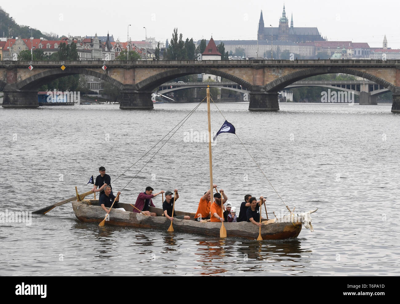 Prague, Czech Republic. 01st May, 2019. Official start of Monoxylon III international expedition that will sail the Mediterranean from Greece to Crete in boat made of one tree trunk, the replica of a neolithic dugout canoe, took place on Vltava river at Rasinovo nabrezi, Prague, Czech Republic, on Wednesday, May 1st, 2019. Credit: Michal Krumphanzl/CTK Photo/Alamy Live News - Stock Image