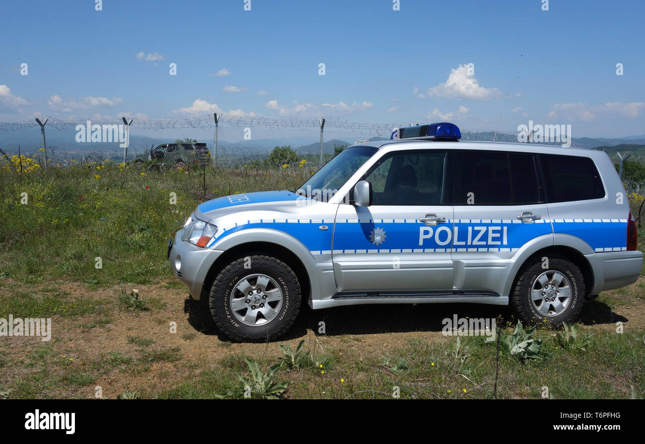 Thessaloniki, Greece. 02nd May, 2019. A German police vehicle in action for the EU border protection organisation Frontex at the border fence between Greece and Northern Macedonia. North Rhine-Westphalia's Interior Minister Reul visited North Rhine-Westphalian police officers who, as part of the EU border protection agency Frontex, are helping to secure the Greek border with northern Macedonia. The main aim of the officials is to prevent refugees and migrants from illegally arriving in Central Europe from Northern Macedonia. Credit: Alexia Angelopoulou/dpa/Alamy Live News Stock Photo