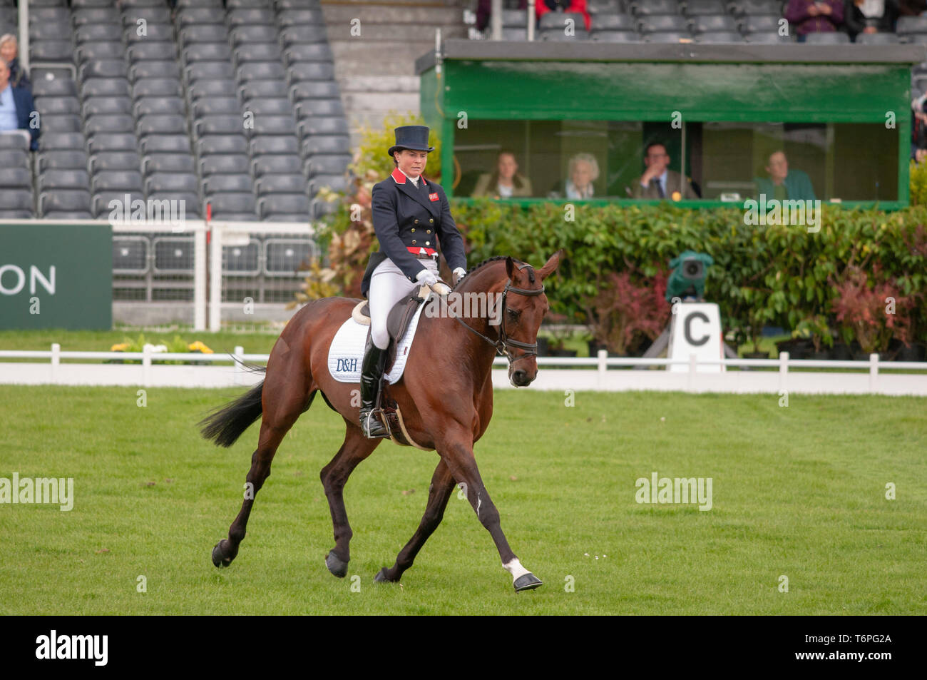 Badminton, Gloucestershire, United Kingdom, 2nd May 2019, Piggy French riding Vanir Kamira during the Dressage Phase of the 2019 Mitsubishi Motors Badminton Horse Trials, Jonathan Clarke/Alamy Live News Stock Photo