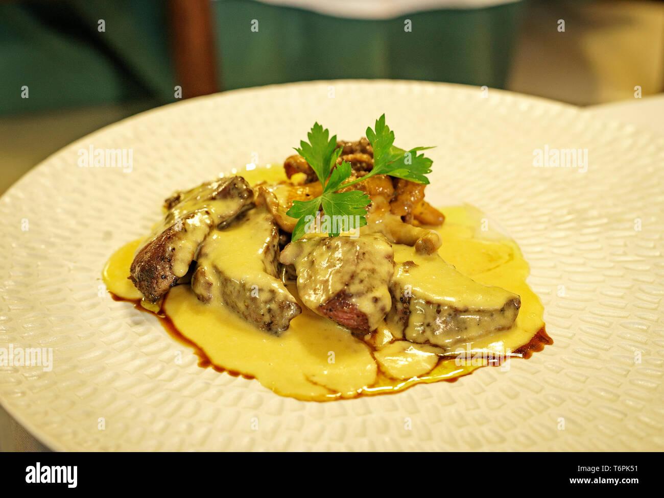 Deer dish.Pineda de Mar. Catalonia. Spain - Stock Image
